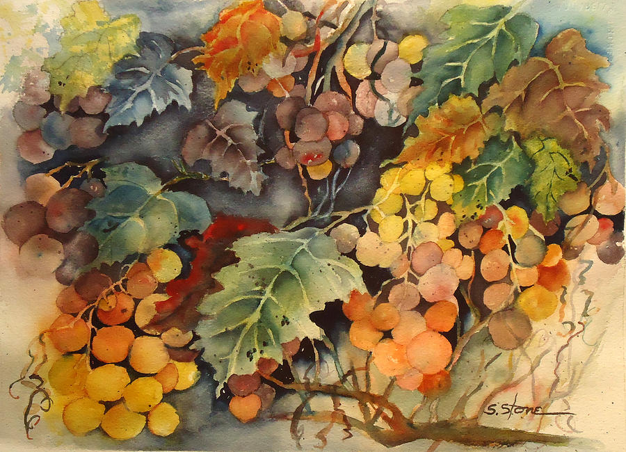 Grapes Painting - Zhens Grapes by Sandra Stone