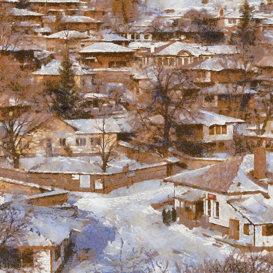 Winter Painting - Zheravna by Georgi Dimitrov