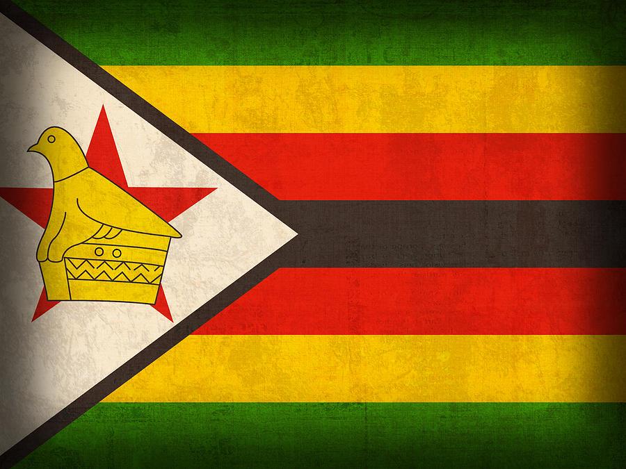 Zimbabwe Flag Distressed Vintage Finish Mixed Media by Design Turnpike