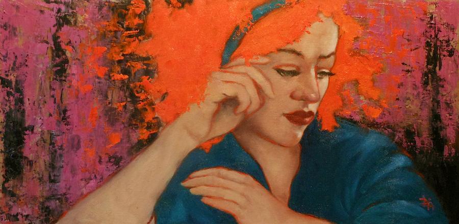 Portrait Painting - Zinnia by Deborah Allison