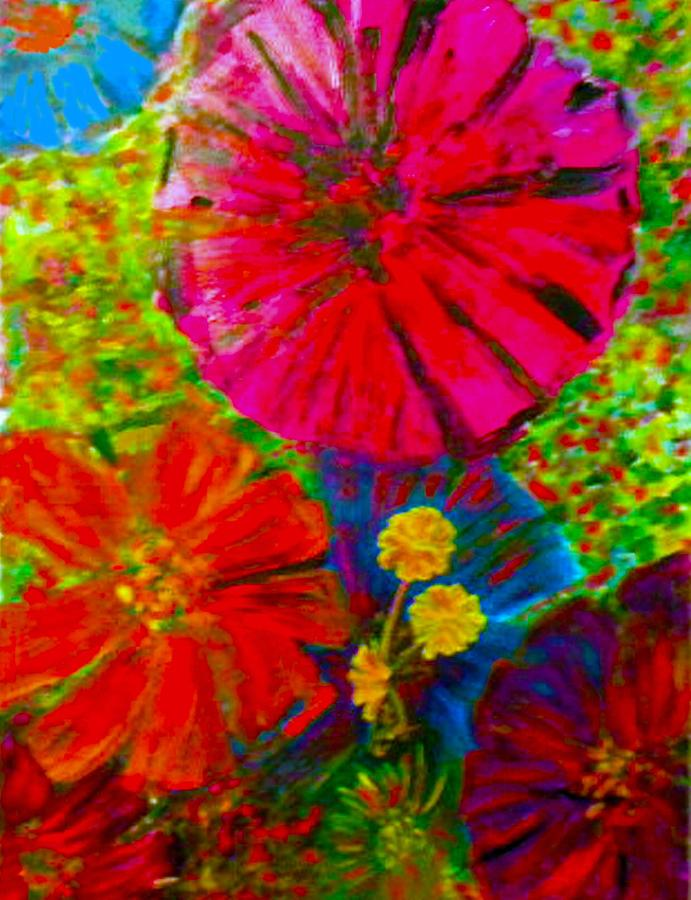 Oil Painting Print Painting - Zinnia Garden by Anne Hamilton