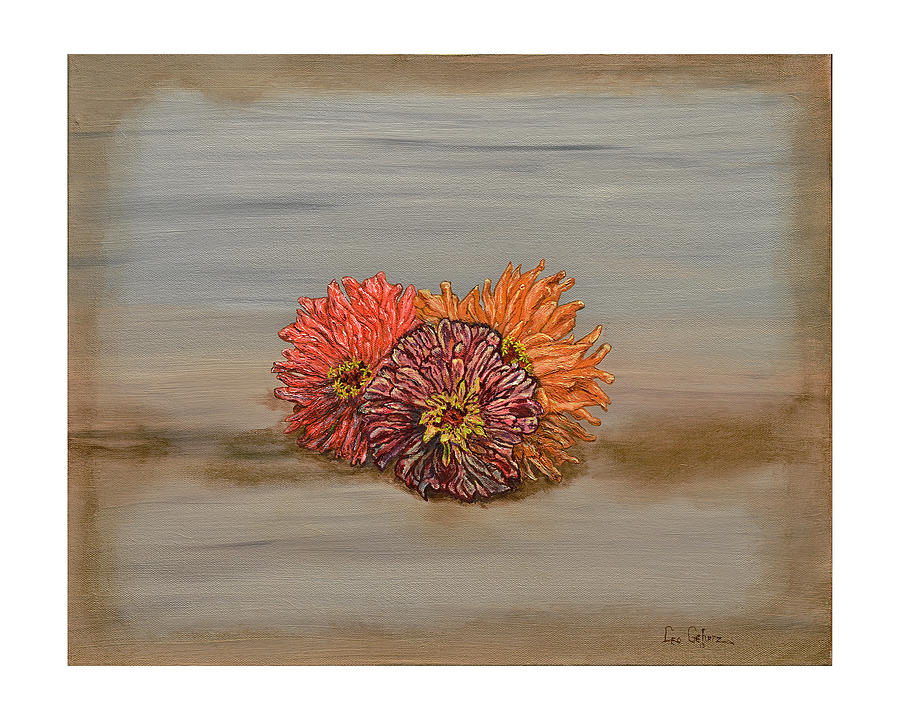 Orange Painting - Zinnia by Leo Gehrtz