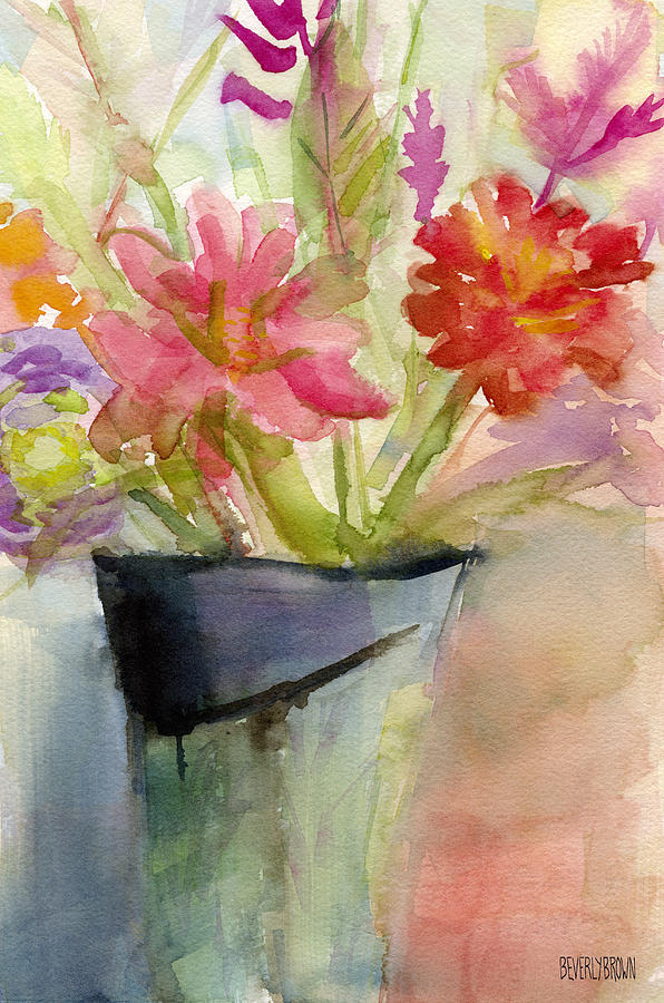 Floral Painting - Zinnias In A Vase Watercolor Paintings Of Flowers by Beverly Brown
