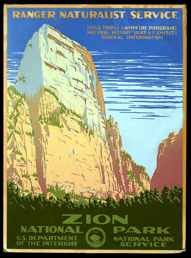 Zion National Park Digital Art - Zion National Park Ranger Naturalist Service  by Unknown