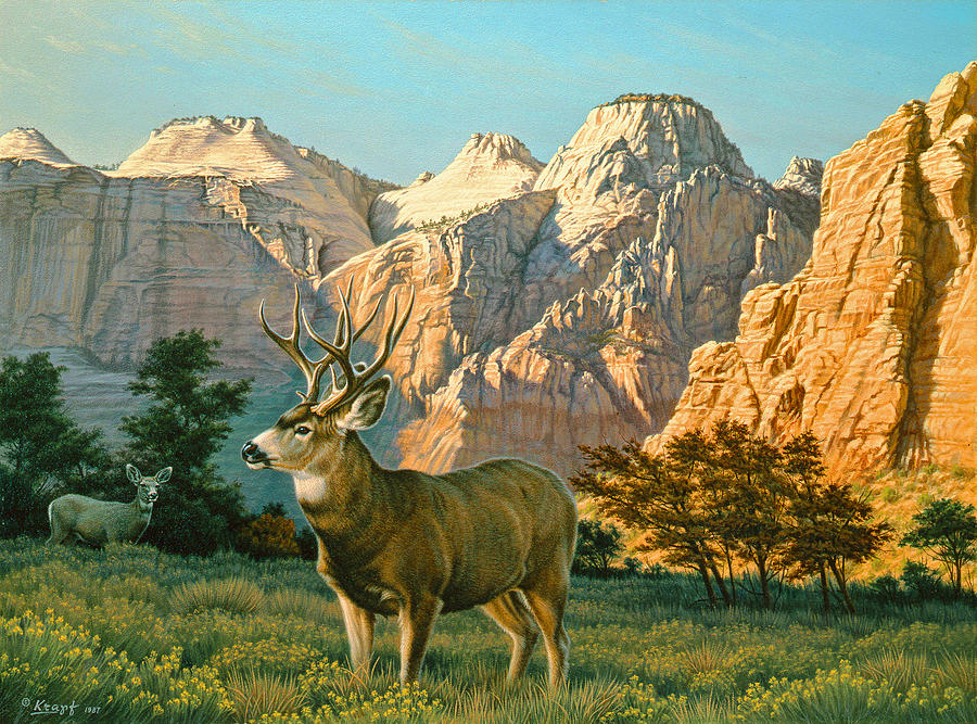 Wildlife Painting - Zioncountry Muleys by Paul Krapf