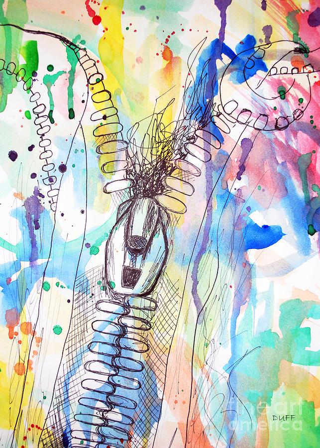 Watercolor Mixed Media - Zip It by Josie Duff