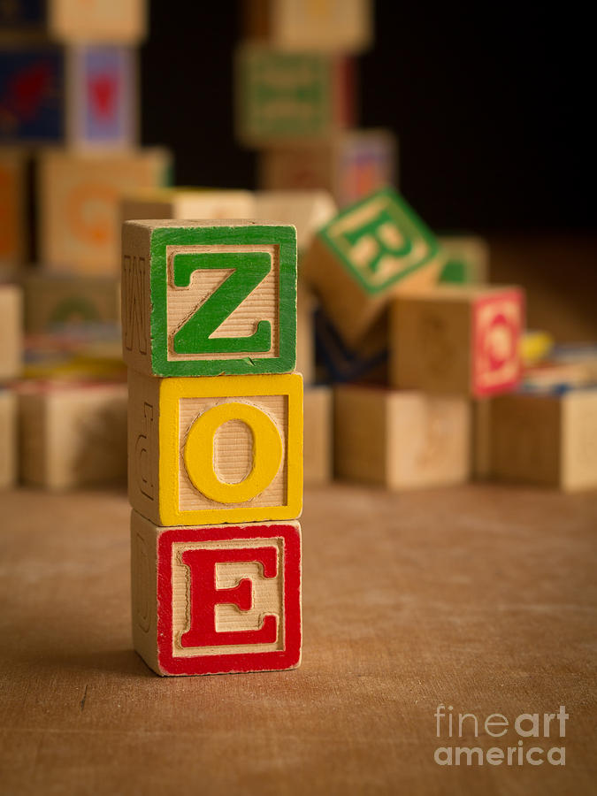 Alphabet Photograph - Zoe - Alphabet Blocks by Edward Fielding