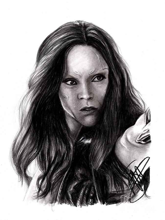 Zoe Saldana Drawing - Zoe Saldana 2 by Rosalinda Markle