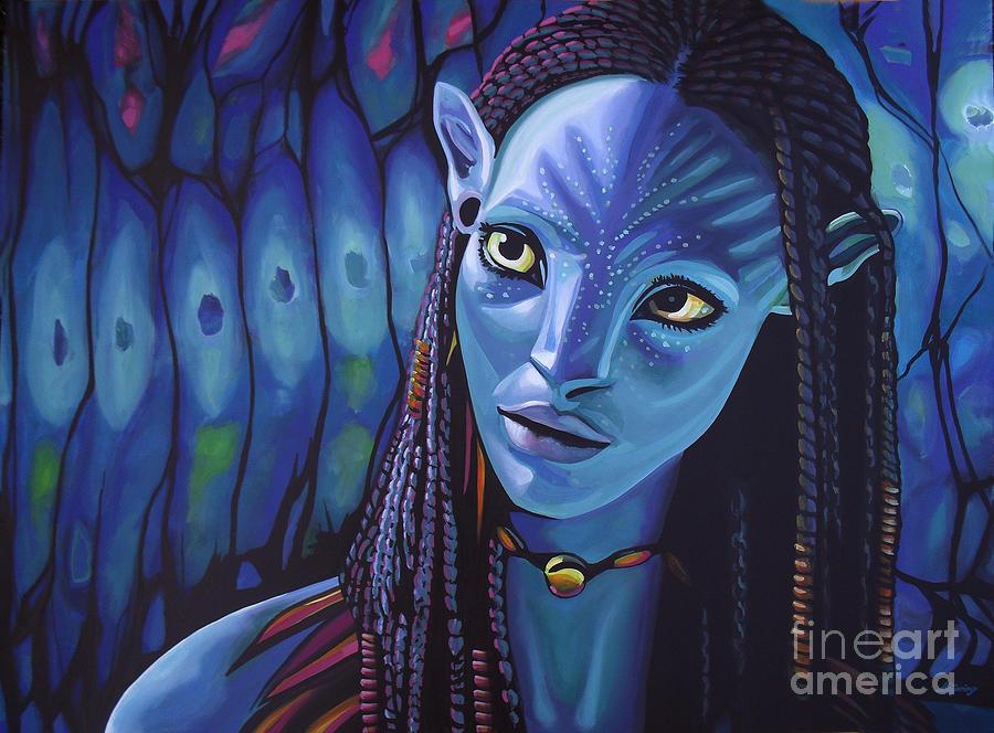 Avatar Painting - Zoe Saldana As Neytiri In Avatar by Paul Meijering