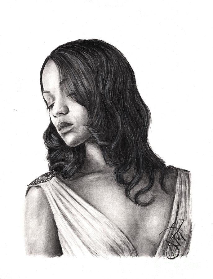 Zoe Saldana Drawing - Zoe Saldana by Rosalinda Markle