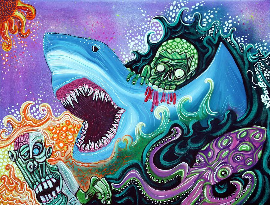 Shark Painting - Zombie Handfishin by Laura Barbosa
