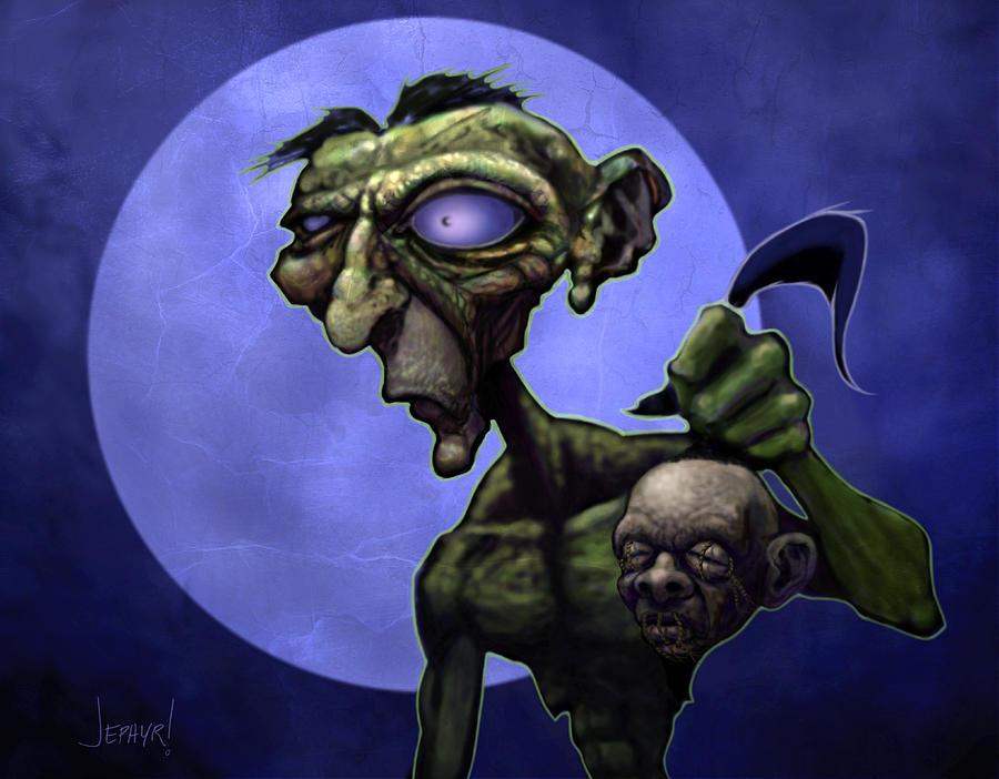 Digital Painting Digital Art - Zombie Head-hunter by Jephyr Art