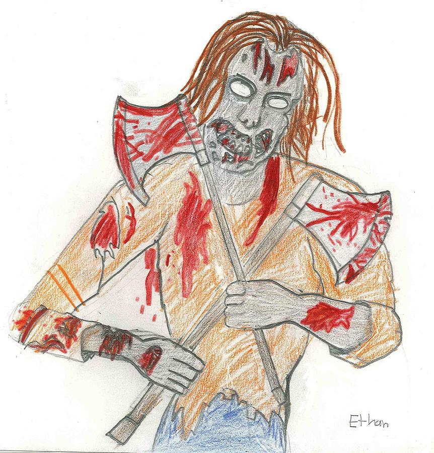 Zombie Drawing - Zombie Horror by Fred Hanna