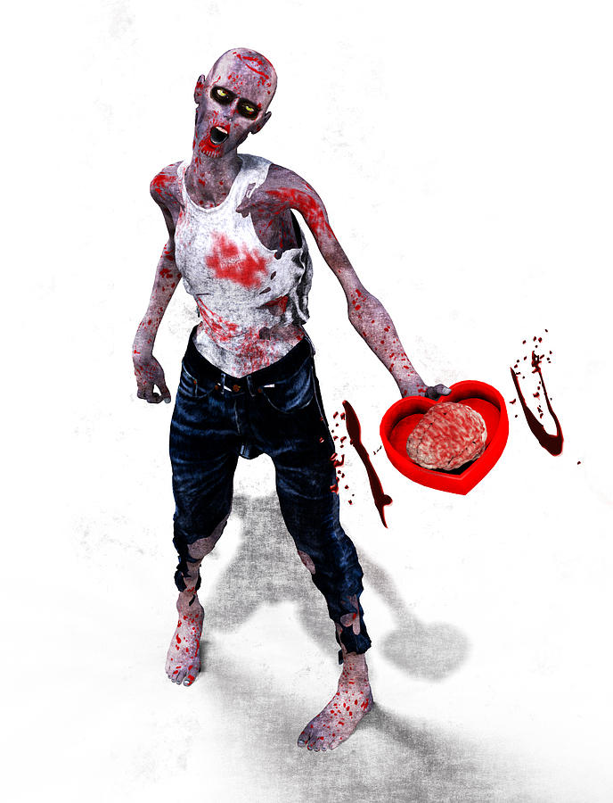 Zombie Digital Art - Zombie Love by Frederico Borges