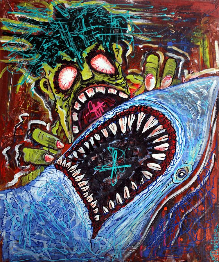 Zombie Painting - Zombie Shark Fight by Laura Barbosa