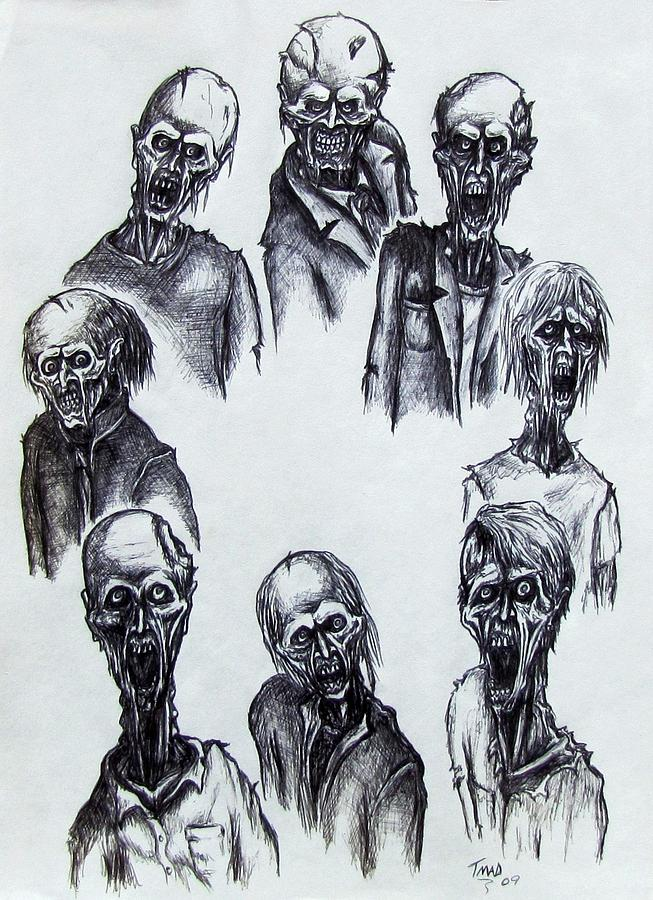 Michael Drawing - Zombies by Michael  TMAD Finney