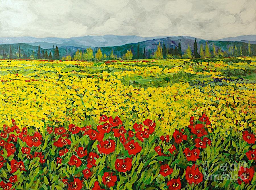 Landscape Painting - Zone Des Fleur by Allan P Friedlander