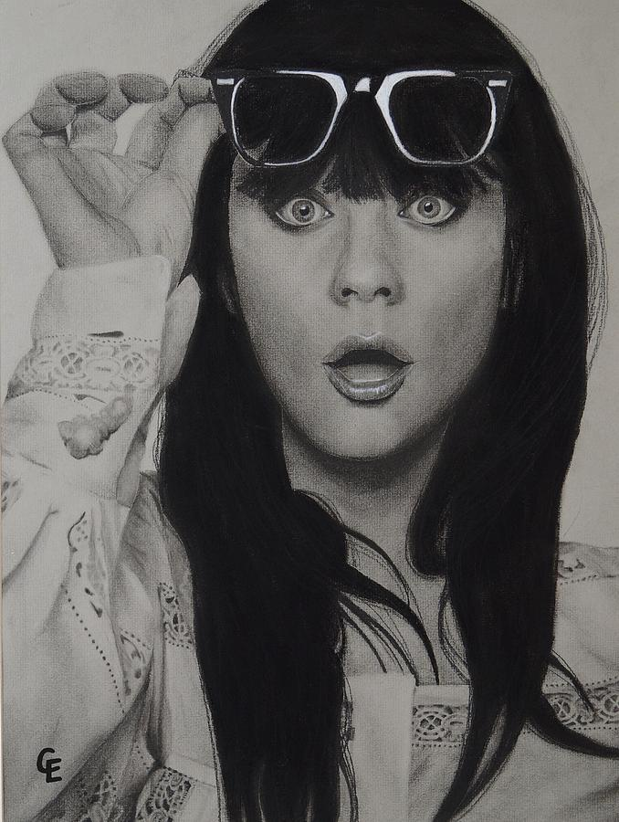 Zooey Drawing - Zooey Deschanel by Chrissy Eckman
