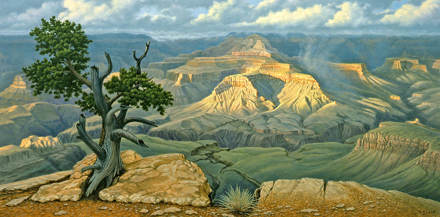 Landscape Painting - Zoroaster Temple From Yaki Point by Paul Krapf