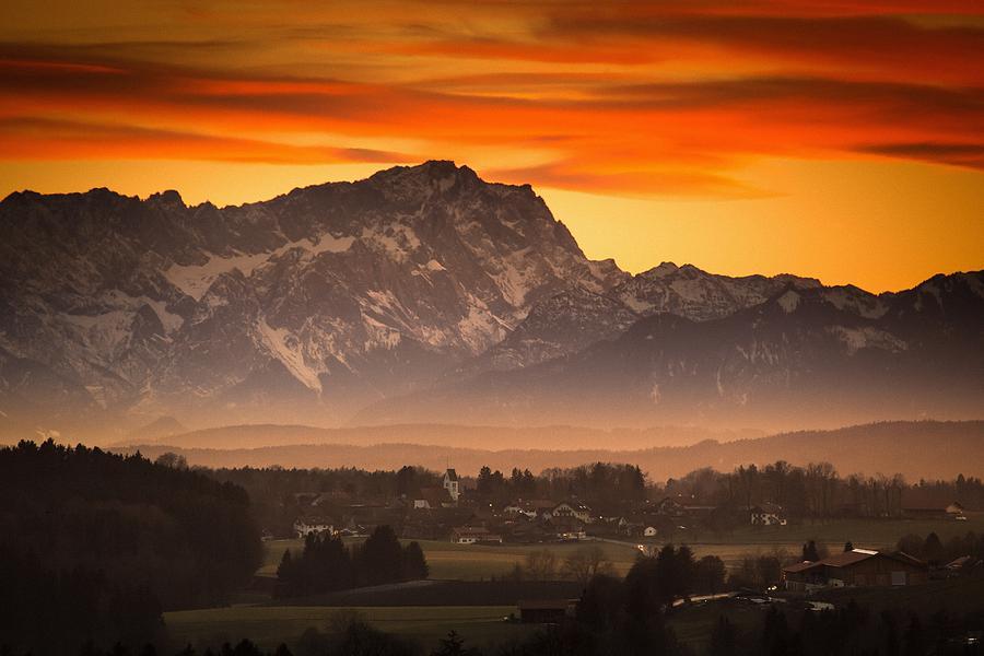 Zugspitze Photograph - Zugspitze Sunset by Bjoern Kindler