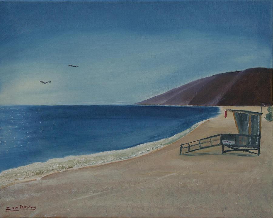 Seabird Painting - Zuma Lifeguard Tower by Ian Donley