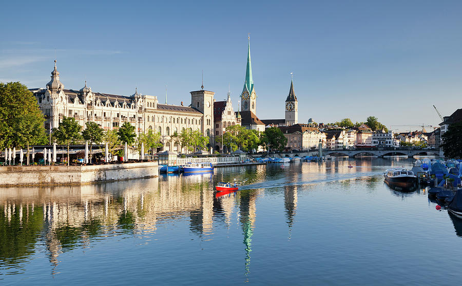 Zurich And River Limmat Photograph by Jorg Greuel
