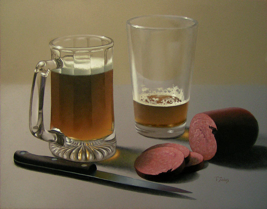 Beer Painting - Zwei Bier Bitte by Timothy Jones
