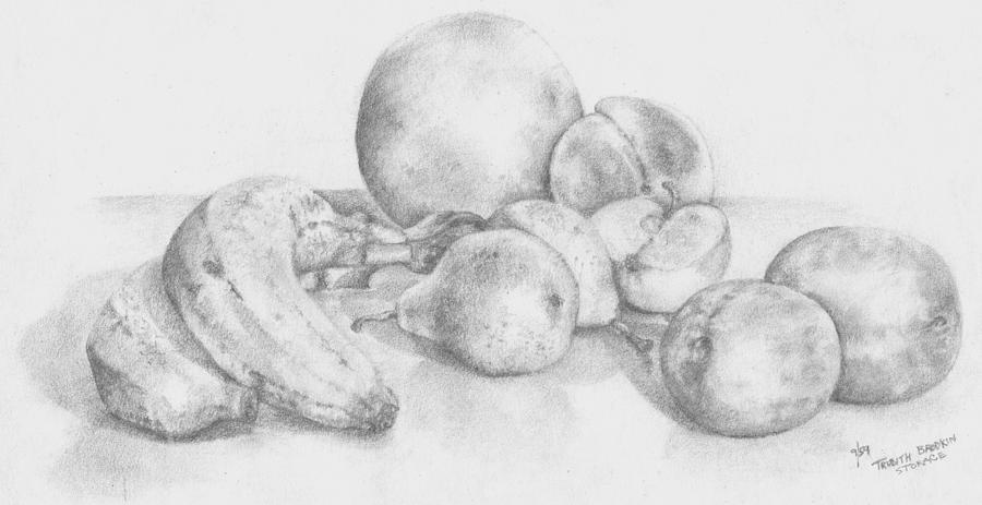 Still Life Drawing -        Summer Fruit by Trudy Brodkin Storace