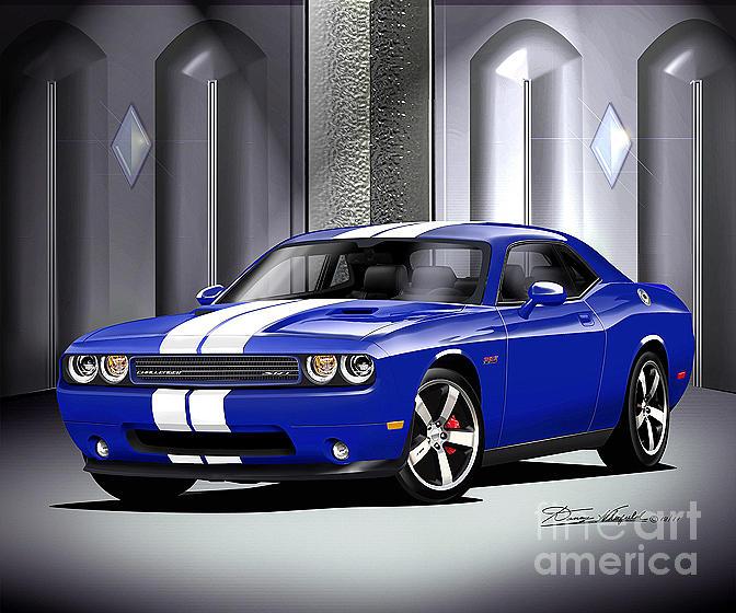 Flying High Dodge Challenger Srt8: 2011 Dodge Challenger Srt8 392 Dark Blue Drawing By Danny