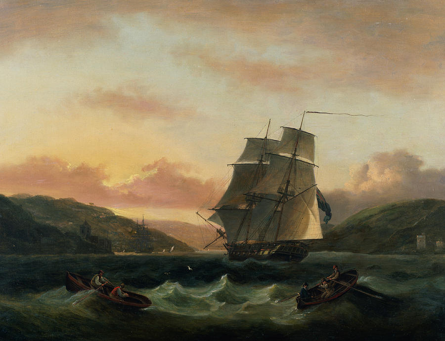 Rowing Boat Painting -  A Brigantine In Full Sail In Dartmouth Harbour by Thomas Luny