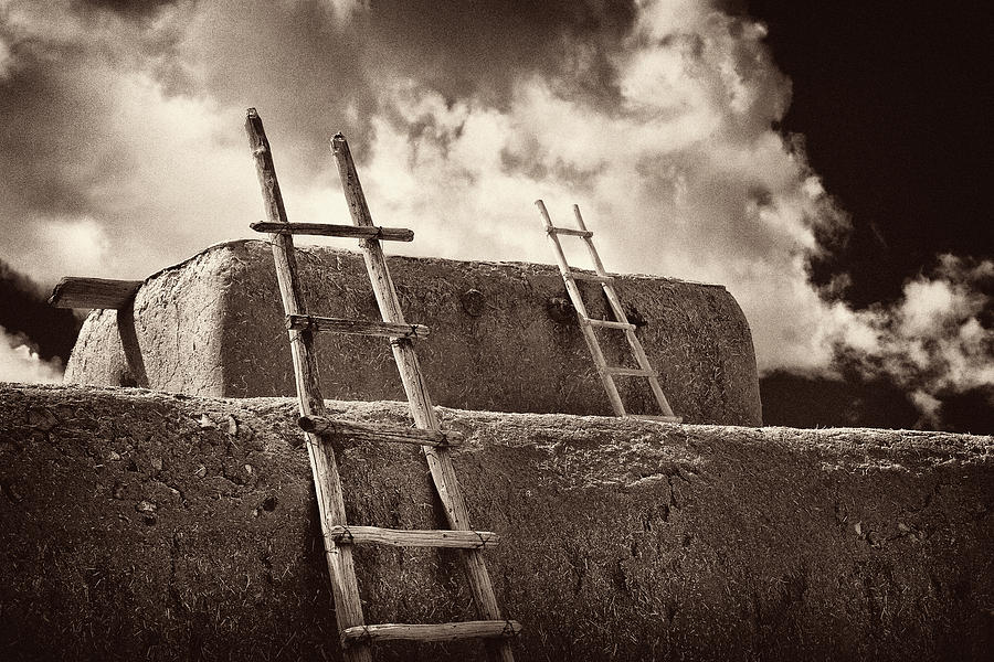 Infrared Photograph -  Adobe Ladders by Christine Hauber