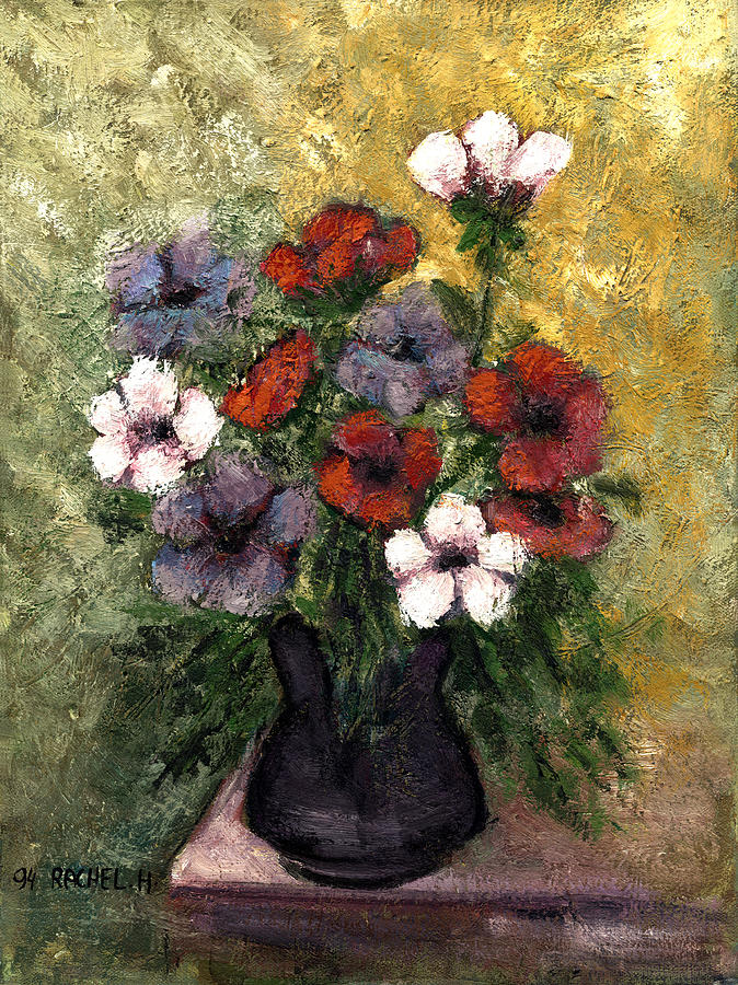 Anemones Vase Red Blue And White Anemone Flowers In A