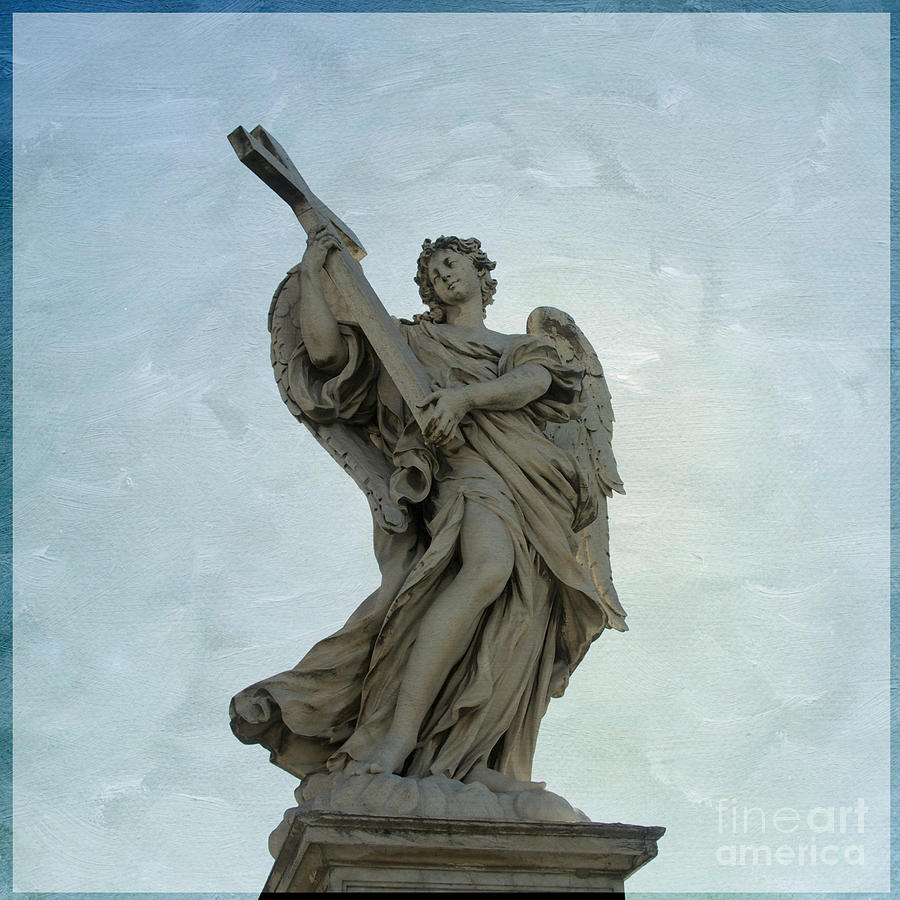 Texture Photograph -  Angel With Cross. Ponte Santangelo. Rome by Bernard Jaubert