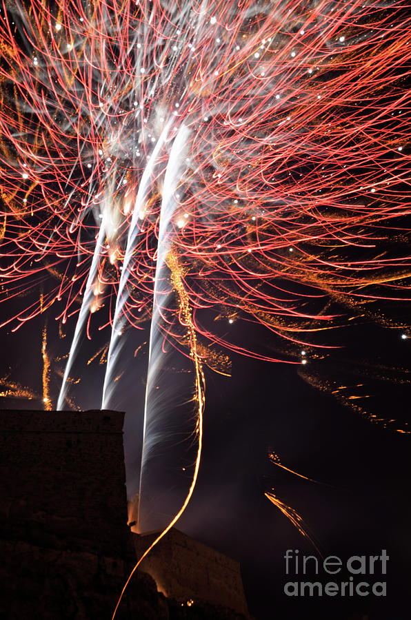 Vertical Photograph -  Bastille Day Fireworks by Sami Sarkis