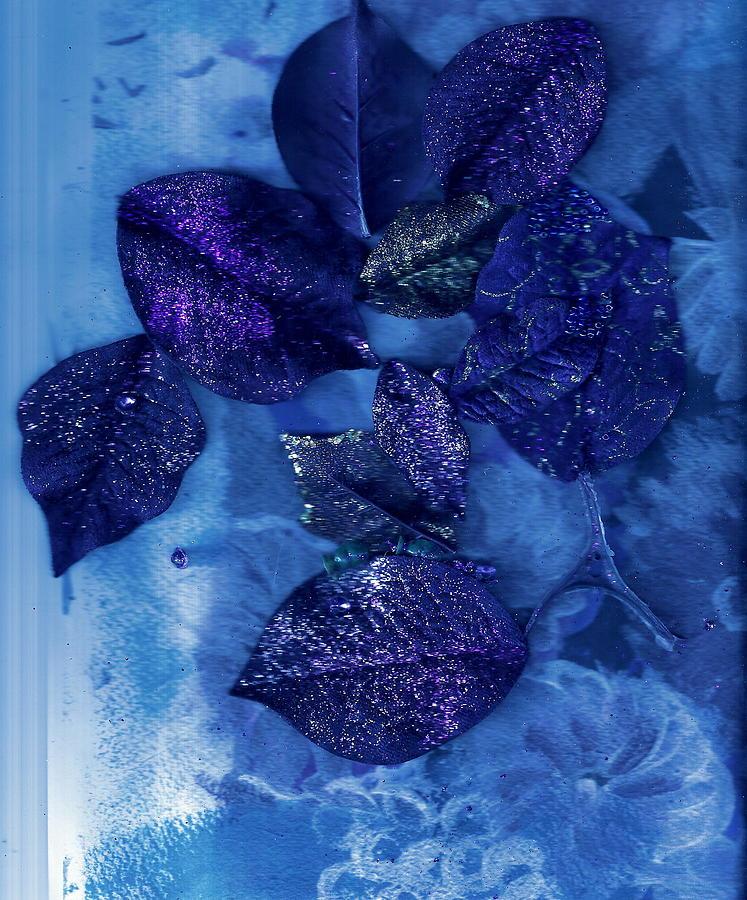 Blues Painting -  Blue Leaves In Memory  by Anne-Elizabeth Whiteway