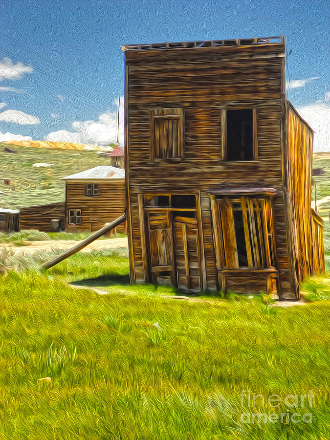 Bodie Ghost Town Painting -  Bodie Ghost Town - Bent House 02 by Gregory Dyer