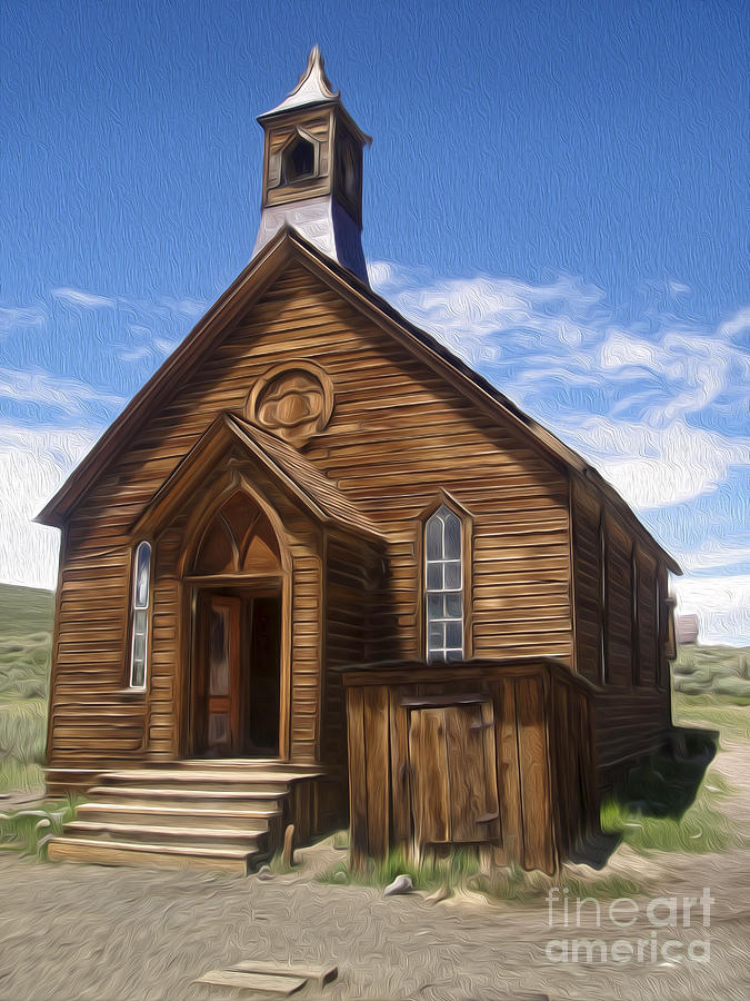 Bodie Ghost Town Painting -  Bodie Ghost Town - Church 01 by Gregory Dyer