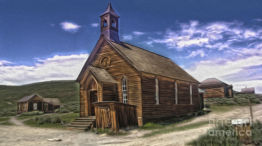 Bodie Ghost Town Painting -  Bodie Ghost Town - Church 02 by Gregory Dyer