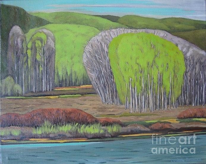 Spring Painting -  Bow River. Cochrane. June. by Ludmila Kalinina