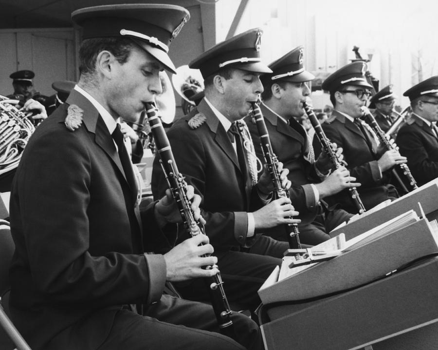 Adult Photograph - Brass Band Playing Outdoors, (b&w) by George Marks