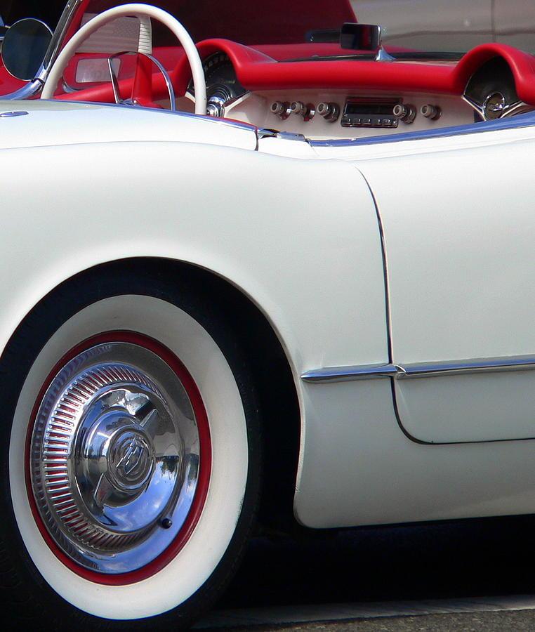 Chevy Corvette Photograph -  Classic White Corvette by Jeff Lowe