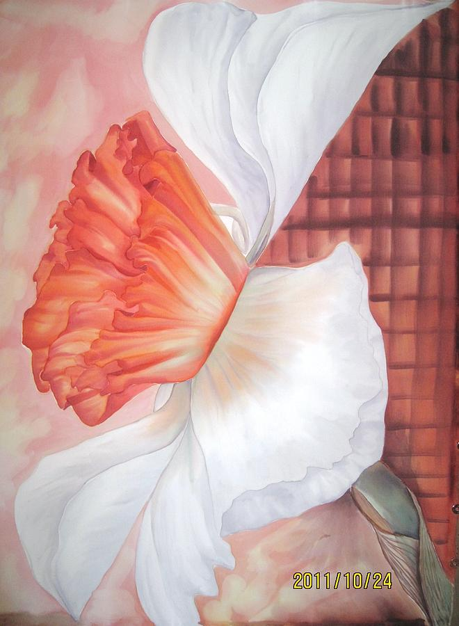 White Tapestry - Textile -  Daffodils by Husna Rafath
