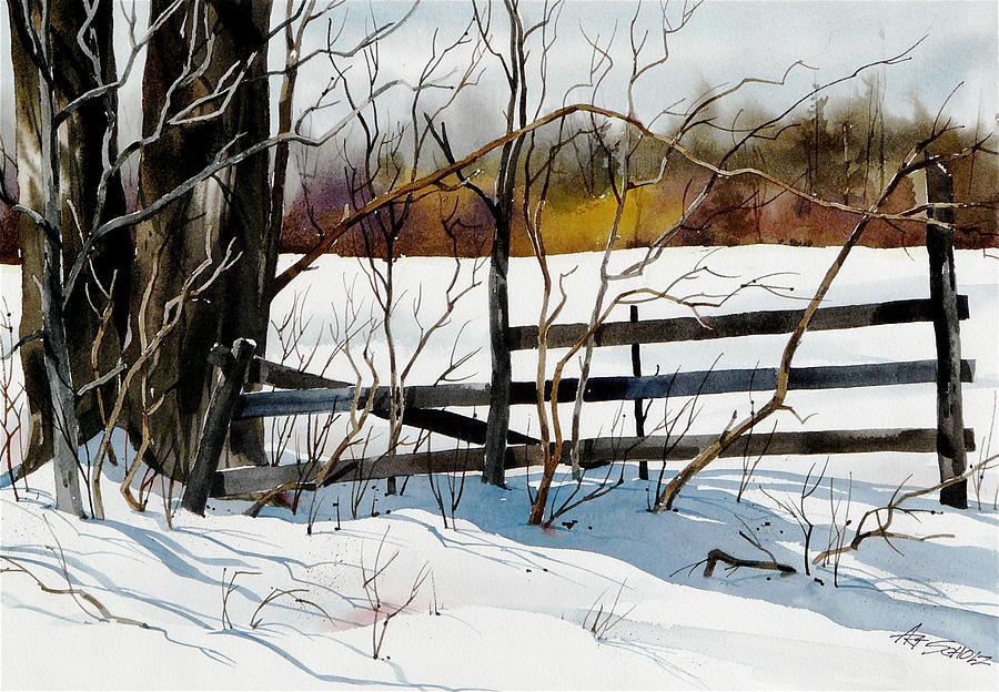 Fenced In Frost Painting by Art Scholz