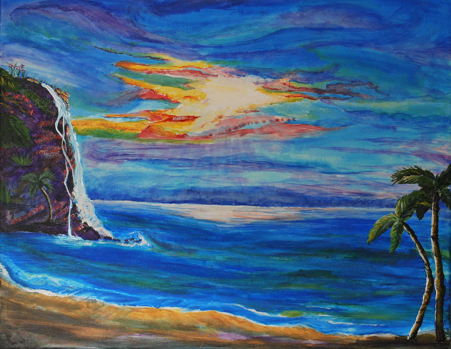 Palm Trees Painting -  Finding Peace Again by Tifanee  Petaja