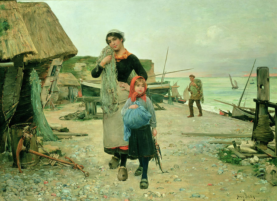 Returning With Their Nets Painting -  Fisherfolk Returning With Their Nets by Henry Bacon