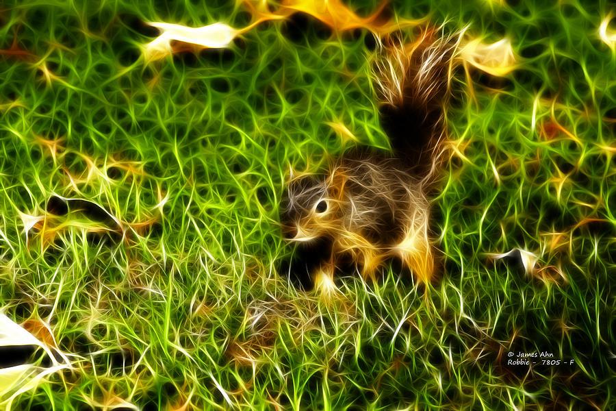 Fractal Digital Art - - Fractal - Pointer - Robbie The Squirrel by James Ahn