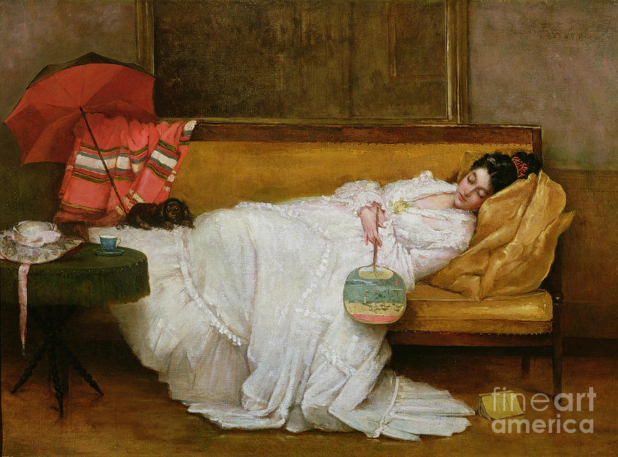 Girl Painting -  Girl In A White Dress Resting On A Sofa by Alfred Emile Stevens
