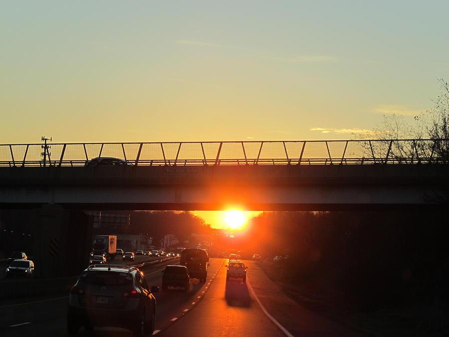 Sunset Photograph -  Highway Sunset by Valia Bradshaw