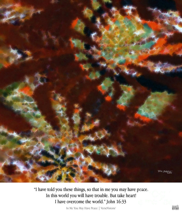 Bible Verse Painting -  In Me You May Have Peace. Christian Art Poster by Mark Lawrence