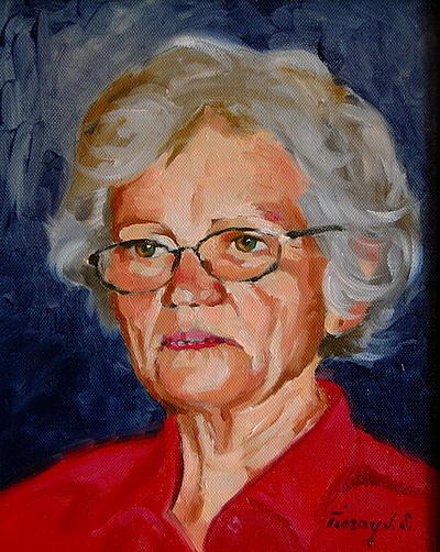 Portrait Painting -  In Memoriam My Mother-in-law by Joe Tiszai